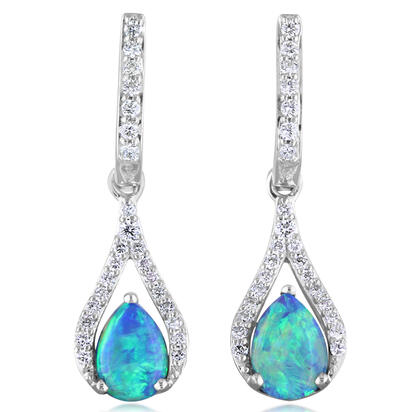 14K White Gold Australian Opal Doublet/Diamond Earrings | ECO023AD2WI