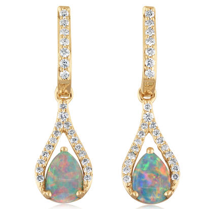 14K Yellow Gold Australian Opal/Diamond Earrings | ECO023N01CI