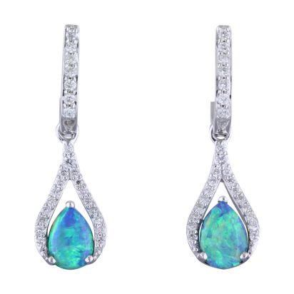 14K White Gold Australian Opal/Diamond Earrings