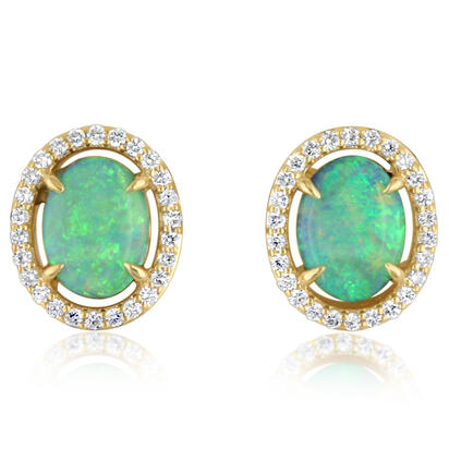 14K Yellow Gold Australian Opal/Diamond Earrings | ECO025N11CI