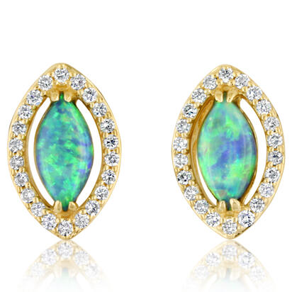 14K Yellow Gold Australian Opal/Diamond Earrings | ECO038N11CI