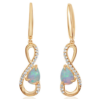 14K Yellow Gold Australian Opal/Diamond Earrings | ECO048N12CI
