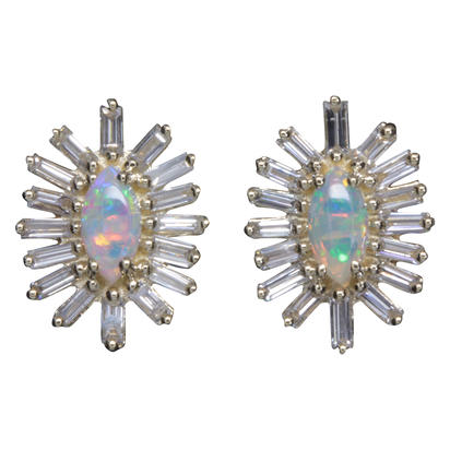 14K Yellow Gold Australian Opal/Diamond Earrings | ECO049N12CI