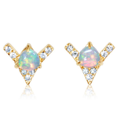 14K Yellow Gold Australian Opal/Diamond Earrings | ECO051N12CI
