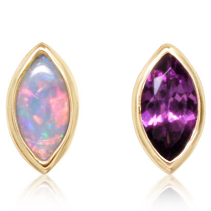 14K Yellow Gold Australian Opal/Purple Garnet Earrings