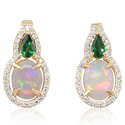 14K Yellow Gold Australian Opal/Tsavorite/Diamond Earrings