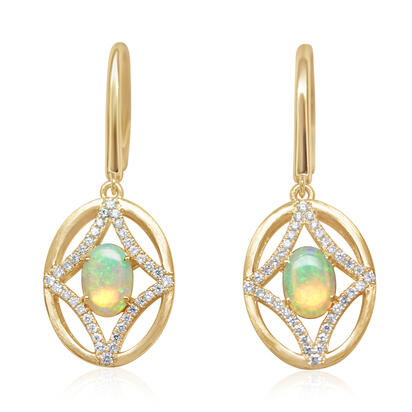 14K Yellow Gold Australian Opal/Diamond Earrings | ECO054N12CI