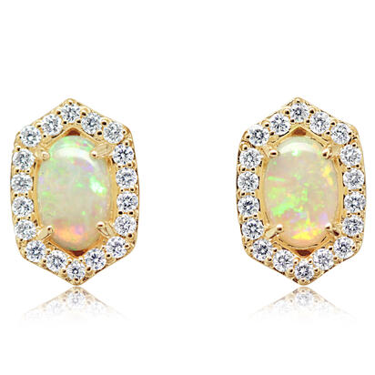 14K Yellow Gold Australian Opal/Diamond Earrings | ECO055N12CI