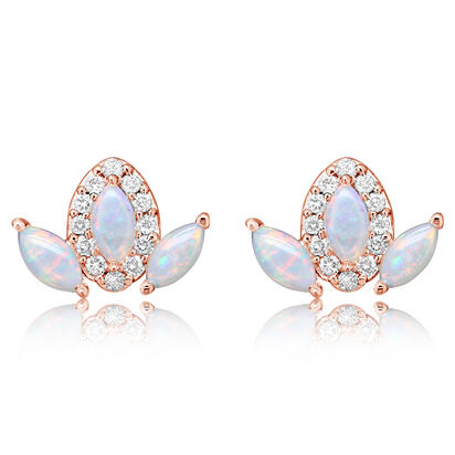 14K Yellow Gold Australian Opal/Diamond Earrings | ECO059N12C-2