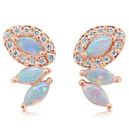 14K Yellow Gold Australian Opal/Diamond Earrings | ECO059N12C