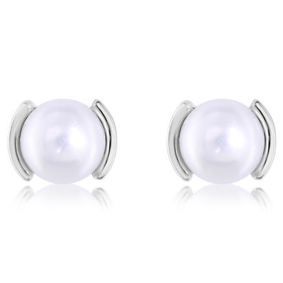 14K White Gold Freshwater Cultured Pearl Earrings | ECO229P2XW