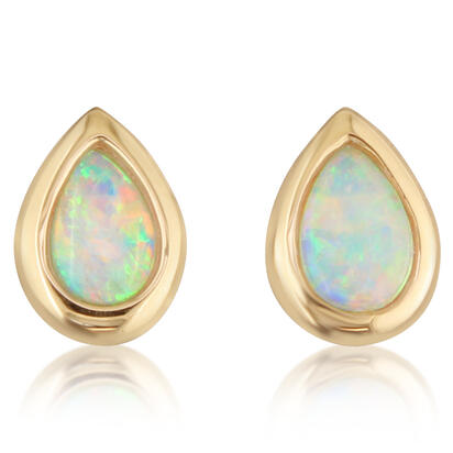 14K Yellow Gold 6x4 Pear Australian Opal Earrings | ECO264N2XCI