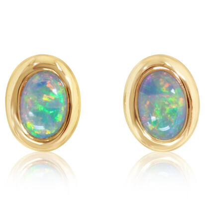 14K Yellow Gold 4x6 Oval Australian Opal Earrings