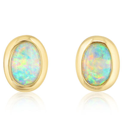 14K Yellow Gold 4x6 Oval Australian Opal Earrings | ECO265N0XCI