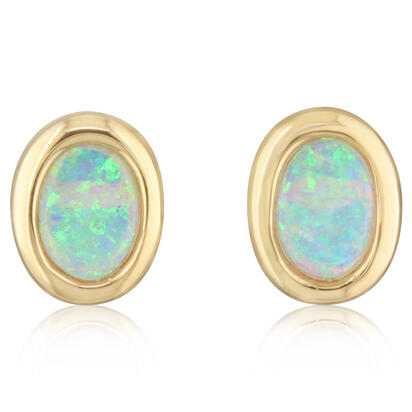 14K Yellow Gold 8x6 Oval Australian Opal Earrings | ECO268N0XCI