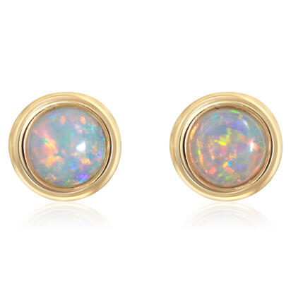 14K Yellow Gold 4mm Round Australian Opal Earrings | ECO319N1XCI