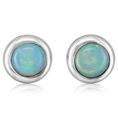 14K White Gold 4mm Round Australian Opal Earrings | ECO319N1XWI