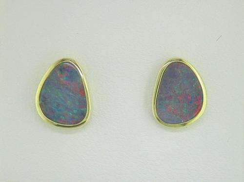 14K Yellow Gold Australian Opal Doublet Earrings