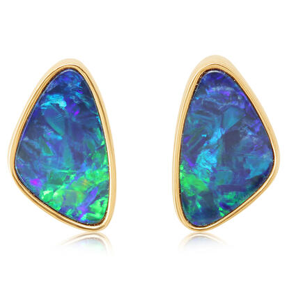 14K Yellow Gold Australian Opal Doublet Earrings | EDBT03I