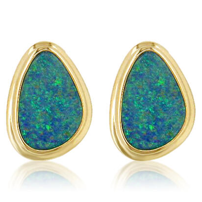 14K Yellow Gold Australian Opal Doublet Wide Bezel Earrings | EDBT03WI