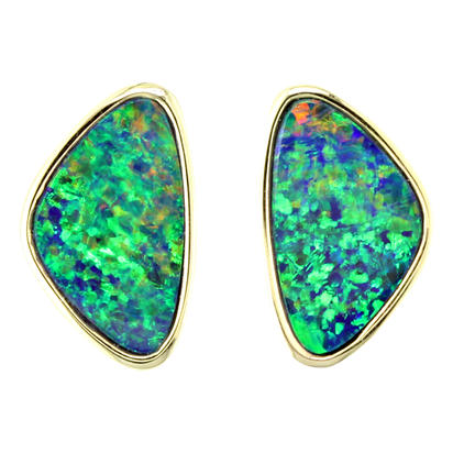 14K Yellow Gold Australian Opal Doublet Earrings | EDBT05I