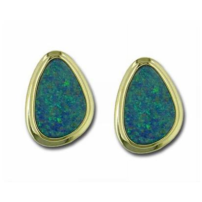 14K Yellow Gold Australian Opal Doublet Wide Bezel Earrings | EDBT06WI