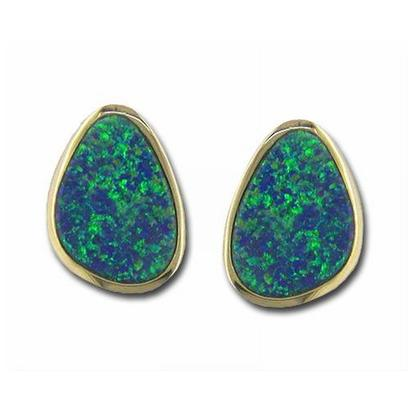 14K Yellow Gold Australian Opal Doublet Earrings | EDBT07I