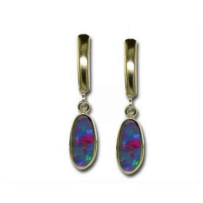 14K Yellow Gold Australian Opal Doublet Plain Bezel Leverback Earrings | EDBT13-16I