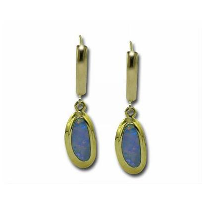14K Yellow Gold Australian Opal Doublet Wide Bezel Leverback Earrings | EDBT13W-13I