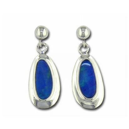 Sterling Silver Australian Opal Doublet Wide Bezel Dangle Earrings | EDBT14SW-6I