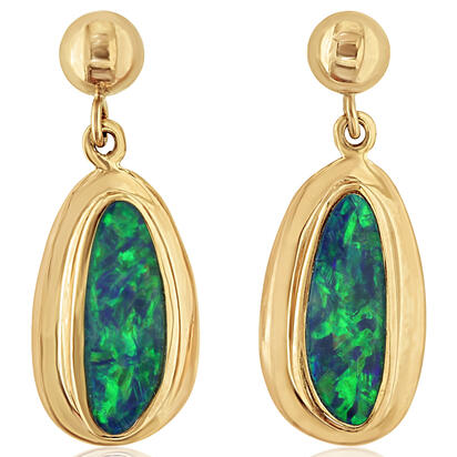 14K Yellow Gold Australian Opal Doublet Wide Bezel Dangle Earrings | EDBT14W-8I
