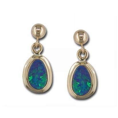 14K Yellow Gold Australian Opal Doublet Wide Bezel Dangle Earrings | EDBT14W-9I