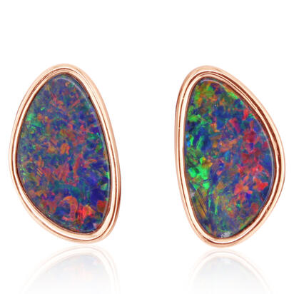 14K Rose Gold Australian Opal Doublet Earrings