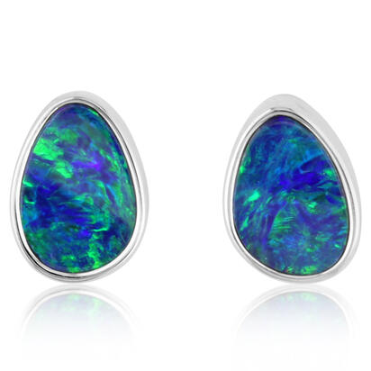 14K White Gold Australian Opal Doublet Earrings | EDBTW04I