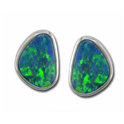 14K White Gold Australian Opal Doublet Earrings | EDBTW06I
