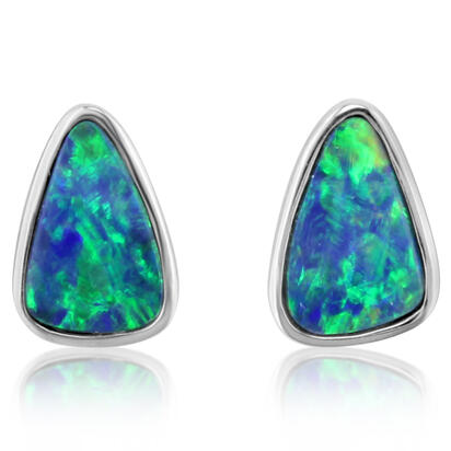 14K White Gold Australian Opal Doublet Earrings | EDBTW07I