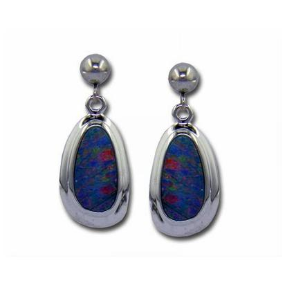 14K White Gold Australian Opal Doublet Wide Bezel Dangle Earrings | EDBTW14W7I