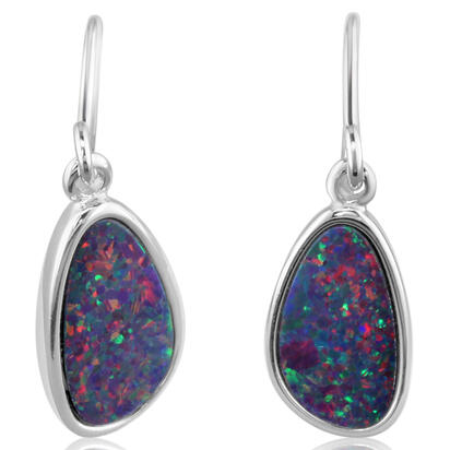 Sterling Silver Australian Opal Doublet Earrings | EDS4S-4I