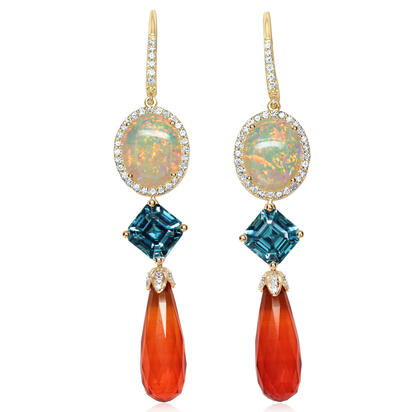 14K Yellow Gold Fire Opal/Blue Zircon/Diamond Earrings | EFOBR825845C