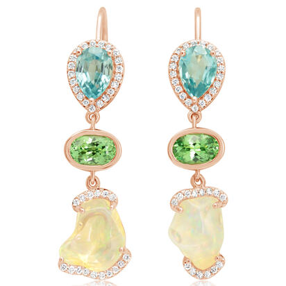 14K Rose Gold Fire Opal/Mint Garnet/Blue Zircon/Diamond Earrings | EFOFF150312R