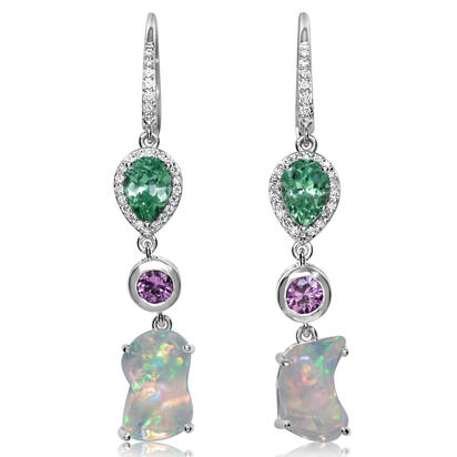 14K White Gold Fire Opal/Mint Garnet/Pink Sapphire/Diamond Earrings | EFOFF150460W