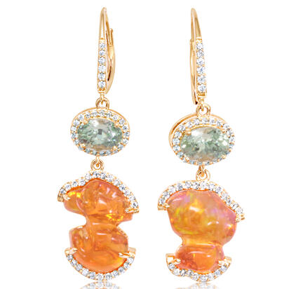 14K Yellow Gold Mexican Fire Opal/Mint Garnet/Diamond Earrings