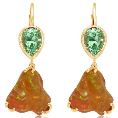 14K Yellow Gold Fire Opal/Mint Garnet Earrings | EFOFF200649C