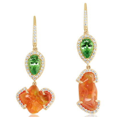 14K Yellow Gold Fire Opal/Mint Garnet/Diamond Earrings