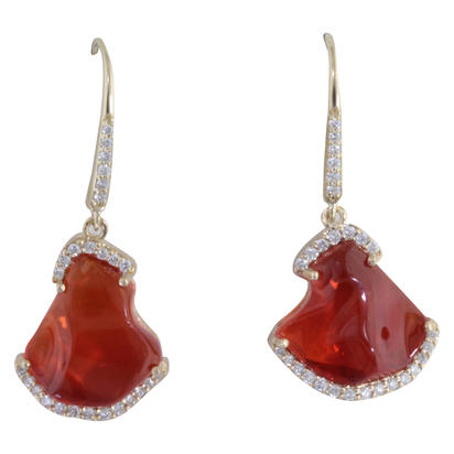 14K Yellow Gold Mexican Fire Opal/Diamond Earrings | EFOFF40580C
