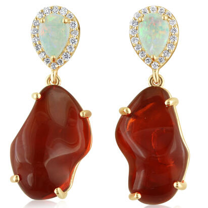 14K Yellow Gold Mexican Fire Opal/Australian Opal/Diamond Earrings | EFOFF40818C