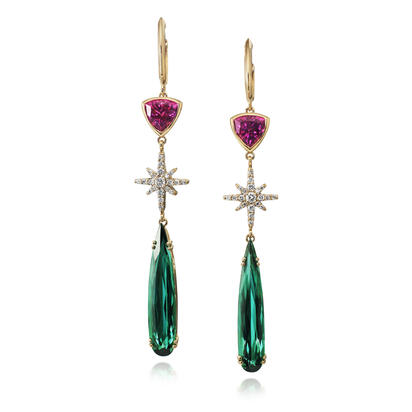 14K Yellow Gold Blue/Green Tourmaline/Purple Garnet/Diamond Earrings | EGHDR883686C