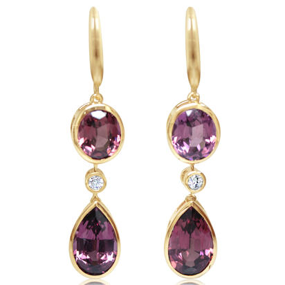 14K Yellow Gold Purple Garnet/Diamond Earrings | EGPPR860577C