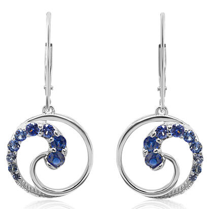 14K White Gold Graduated Blue Sapphire Earrings | EJC002GSXWI