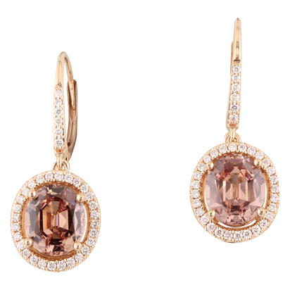 14K Rose Gold Lotus Garnet/Diamond Earrings | ELGOV825450RI